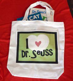 Dr. Seuss Library bag. Free printable for bag!