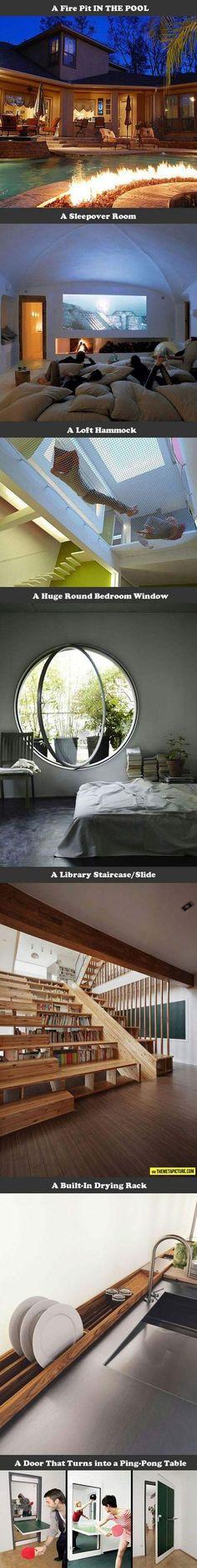 Alors je veux : la table de ping pong entre les chambres des enfants, l'escalier bibliothèque, et le dévidoir à vaisselle !!
