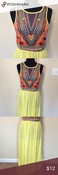 Yellow Maxi Dress Yellow maxi dress with print top and sheer bottom Dresses Maxi