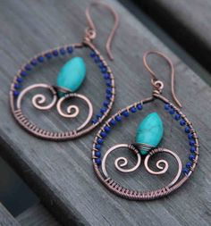 Copper Lapis Lazuli Turquoise Wire Wrapped Hoops. $42.00, via Etsy.