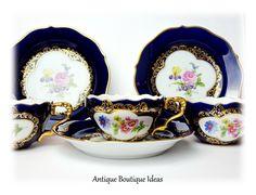 Vintage Teacup Duo Cobalt Blue Teacup LINDNER Pattern Maria Luisa German Porcelain Floral Tea Cup Gold Decor Cups and Saucers Cottage Chic by AntiqueBoutiqueIdeas on Etsy