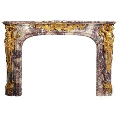 """Palatial French 19th Century Louis XV Style """"Versailles Model"""" Fireplace Mantel 1"""