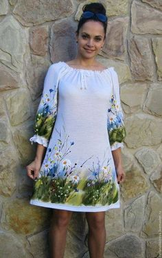 Painted Clothes Hand Painted Dress Silk Painting Dress Painting Sewing Clothes Diy Clothes Clothes For Women Dressmaking Baby Dress Hand Painted Dress, Hand Painted Fabric, Painted Clothes, Linen Dresses, Cotton Dresses, Casual Dresses, Girls Dresses, Dress Painting, Fabric Painting
