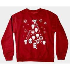 Xmas Tree Suicide Squad Christmas Jumper T-Shirt ❤ liked on Polyvore featuring tops and red top