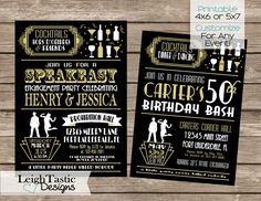 ROARING 20'S INVITATION, Gatsby Invitation, Roaring 20's Great Gatsby, Speakeasy Roaring 20's Party Casino by LeighTasticDesigns on Etsy https://www.etsy.com/listing/265682248/sale-printable-for-any-event-roaring-20s
