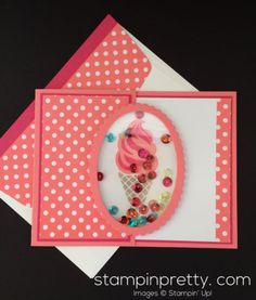 A Sneak Peek of Cool Treats! (Mary Fish, Stampin' Pretty The Art of Simple & Pretty Cards) Making Greeting Cards, Greeting Cards Handmade, Stampin Pretty, Kids Birthday Cards, Birthday Wishes, Stampin Up Catalog, Shaker Cards, Cool Cards, Cards Diy