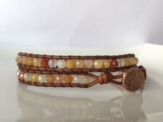 Cider - Double Strand - brown leather wrapped with faceted fancy Jasper - copper button