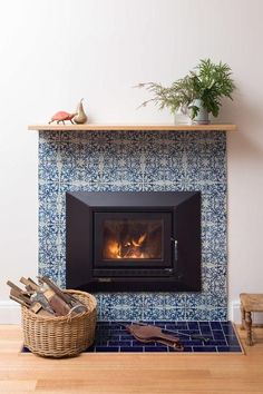 Boost your Fireplace Surround – Real cement tiles VS creative DIY ideas – get the same look for less Boost your Fireplace Surround – Real cement tiles VS creative DIY idea – Quadrostyle Mosaic Fireplace, Fireplace Tile Surround, Wooden Fireplace, Home Fireplace, Fireplace Remodel, Living Room With Fireplace, Fireplace Surrounds, Fireplace Design, Living Room Decor