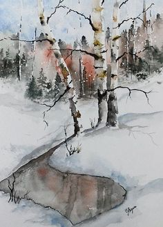 Original Watercolor Painting Maine Landscape by pinetreeart, $59.00 by dee29