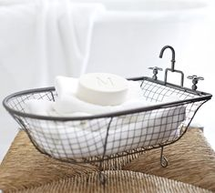 Bathtub Mesh Catchall | Pottery Barn ~ Super cute for towel and toiletry storage in guest baths.