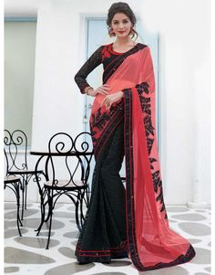 Pink and Black Net Saree with Sequins Work