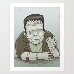 Frankenstein's monster Art Print by Hatrobot - $20.00