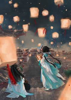 Sister and the lantern festival Anime Art Fantasy, Fantasy Drawings, Art Drawings, Illustrations, Illustration Art, China Art, Anime Scenery, Ancient Art, Traditional Art