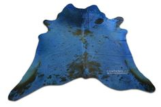 Dyed Blue Cowhide Rug Size: 7.4 X 7.4 ft Speckled Black & White Cow Hide i-646 #DeluxeCowhides #Contemporary