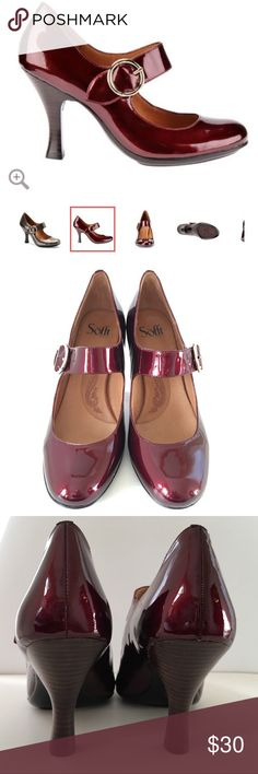 "Sofft 'Fable' Retro Bordeaux Mary Jane Pump Fits size 9.5 to 10. Retro mary jane with a leawood stacked spool heel in soft leather and shimmering patent. Color is ""Bordeaux,"" a rich burgundy. Leather-lined footbed. Height: 3 1/4 inches. Very minor box wear from sitting too long in my closet waiting to be worn. Just a smidge too tight for my square toes. Make them a new home, they are beautiful! Sofft Shoes Heels"