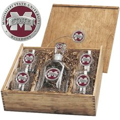 Mississippi State University MSU Bulldogs Capitol Decanter Boxed Set $165.00