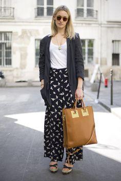 Grey Jacket with Bird Print Palazzo Pants