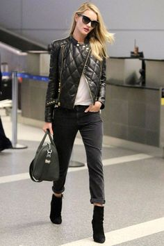 Quilted veggie leather jacket paired with white T-shirt, black jeans and boots.. DIY the look yourself: http://mjtrends.com/pins.php?name=faux-quilted-leather-for-jacket