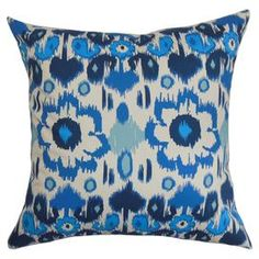"""Showcasing a chic palette and artful design, this beautifully crafted pillow offers an eye-catching focal point for your sofa and adds a plush touch to your favorite arm chair.   Product: PillowConstruction Material: Cotton cover and 95/5 down fillColor: Artic blue and naturalFeatures:  Insert includedHidden zipper closureMade in the USA Dimensions: 18"""" x 18""""Cleaning and Care: Spot clean"""