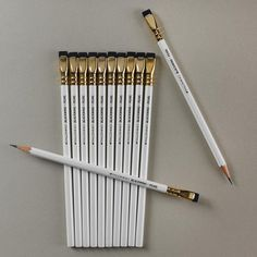 Levenger - I LOVE the Palomino Blackwing pencil.  Not cheap, bit they write fantastically and sharpen like a dream.  They even have replacement erasers you can buy.  Mine are in black.  I must get a set in the new pearl.