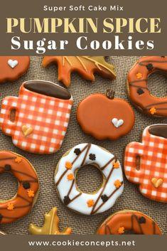 Thanksgiving Cookies, Fall Cookies, Cake Mix Cookies, Cut Out Cookies, Holiday Cookies, Cookies Et Biscuits, Cookie Cakes, Drop Cookies, Halloween Sugar Cookies