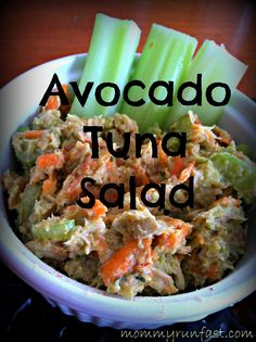 Avocado Tuna Salad: Replace traditional mayonaise with avocado in this yummy tuna salad. Find the full recipe at mommyrunfast.