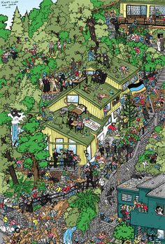 Montania - Where is Wally? by Shabazik on DeviantArt Where's Waldo Pictures, Stranger Things, Crowd Drawing, Wheres Wally, English Lessons, Twinkle Twinkle, Cute Wallpapers, Quilling, Pixel Art
