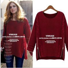 EAST KNITTING Fashion OT-090 2013 Women New Long Sleeve Pullovers celebrity style winter Zipper knitwear Sweater free shipping