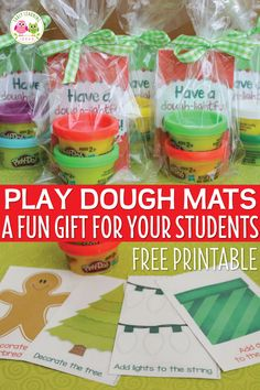 These free printable Christmas play dough mats make a great Christmas gift for students, a nice party favor, or a fun activity for a kids Christmas party. Just print, laminate, and cut and add play dough.a printable gift tag is even included. Student Christmas Gifts, Christmas Gifts For Parents, Student Gifts, Christmas Fun, Holiday Gifts, Preschool Christmas Gifts For Classmates, Classroom Gifts For Students, Christmas Parties, Christmas Plays For Kids
