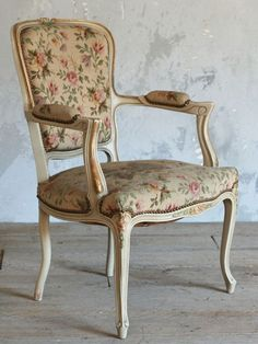 Vintage Single Armchair in Cream and Gold with Floral Upholstery