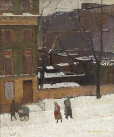 Snow in Bloomsbury Claude Rogers 1945 Painting Snow, Winter Painting, Winter Art, Winter Landscape, Urban Landscape, Your Paintings, Landscape Paintings, London Painting, Building Painting