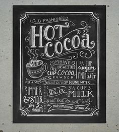 Hot Cocoa Chalkboard Art Print