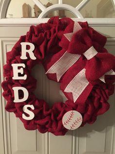 Cincinnati Reds burlap wreath by TriciaMaeHangtime on Etsy https://www.etsy.com/listing/228648165/cincinnati-reds-burlap-wreath