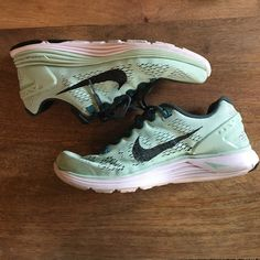 NIKE mint lunarglides Bought and worn twice outside only to realize they are too big. Love this mint color! Size 8. Excellent running shoe! No trades price is firm Nike Shoes Sneakers