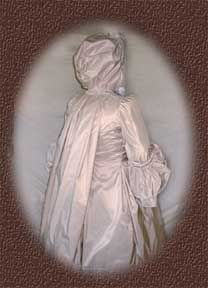Pearl-grey silk taffeta Brunswick jacket - back view  sack-back pleats and hood