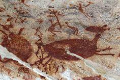 Detalhe de desenhos na Toca do Pajaú. A toca possui pinturas rupestres na tradição do nordeste que datam de 12 mil a 6,5 mil anos.