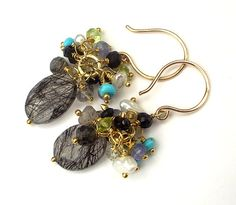 Gemstone Cluster Earrings Wire Wrapped by DoolittleJewelry on Etsy, $58.00