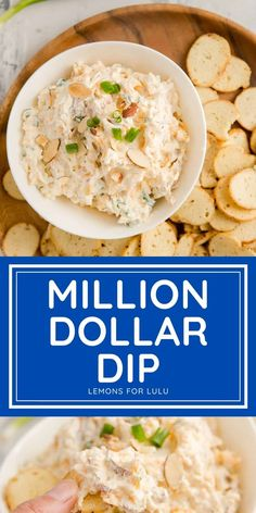 """With a name like """"million dollar dip"""", you know this has to be good! This dip has something for everyone, it is creamy, cheesy, loaded with bacon and even nuts...crunchy, salty, creamy, and delicious! Best Appetizer Recipes, Appetizer Dips, Yummy Appetizers, Dip Recipes, Appetizers For Party, Cooking Recipes, Healthy Recipes, Party Food And Drinks, Game Day Food"""