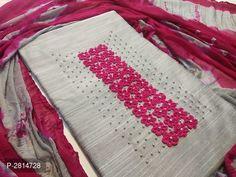 Pinky Pink Trendy Silk Embroidery Dress Material from Stf Store Hand Embroidery Dress, Embroidery Neck Designs, Embroidery Works, Embroidery Suits, Kurti Neck, Kurta Designs, Saree Dress, Manish, Ahmedabad
