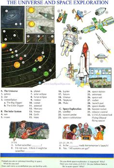 117 - THE UNIVERSE AND SPACE EXPLORATION - Picture Dictionary - English Study, explanations, free exercises, speaking, listening, grammar lessons, reading, writing, vocabulary, dictionary and teaching materials