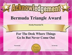101 Funny Office Awards from Comedian Larry Weaver www.FunAwards.com