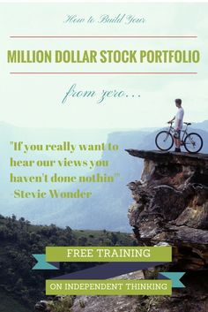 If you really want to hear our views you haven't done nothin' -Stevie Wonder Stock Investing, Investing In Stocks, Stock Portfolio, Portfolio Management, Stevie Wonder, Free Training, You Really, Stock Market