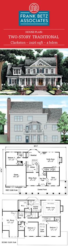 Clarkston: 2426 sqft, 4 bdrm, Traditional house plan design by Frank Betz Associates Inc.