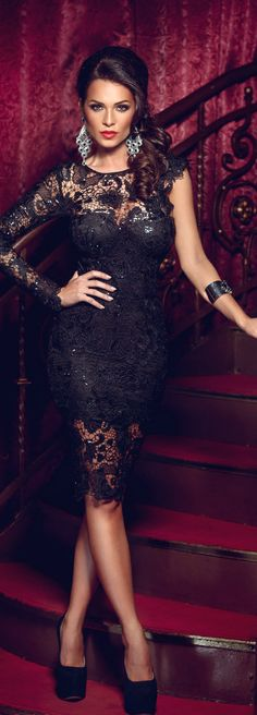 luxury fashion and glamour | luxury that captures her style and expresses her elegant sexy attitude | sexy woman in elegant black lace dress | #thejewelryhut