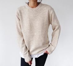@kamplainnn ❃ fall autumn winter style fashion outfit cream beige longsleeve minimal minimalistic