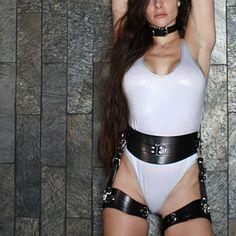 Leather Hands and Neck Bondage BDSM collar Slave collar Lingerie Cuir, Sexy Lingerie, Bodysuit Lingerie, Catsuit, Leather Handcuffs, Collars Submissive, Slave Collar, Leather Suspenders, Full Body Suit