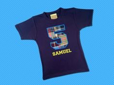 Birthday Boy's Number Top with Embroidered Name by SunbeamRoad, $22.50