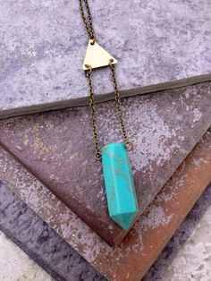 OZARKS  // Natural Turquoise Crystal Point Pendant by ShopParadigm, $29.00