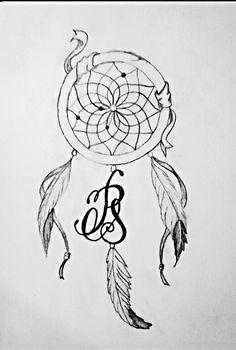 Tattoo dreamcatcher initials sketch #madebyme aunt design plumas atrapasueños draw