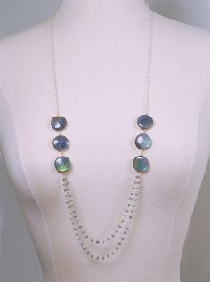 Labradorite Necklace. Long Gemstone Necklace by Agusha
